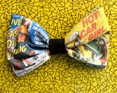 Pulp Fiction Hot Rod Sinner Girl Fabric Hair bow designed and printed exclusively by Dolly Cool