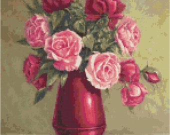 Red & Pink Roses Flower Counted Cross Stitch Pattern