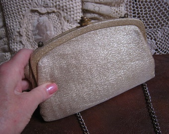 Vintage small glimmery fabric clutch bag, shimmery golden fabric evening bag, golden fabric bag with long chain strap