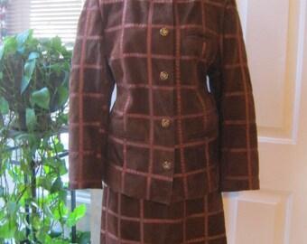 Vintage dark cognac suede jacket skirt set, rich rust color suede skirt jacket suit size L, woman's suede skirt suit made in Argentina