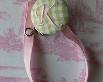 New Item----Boutique Monogrammed Baby Toddler Girl----Paci Clip----Pacifier Holder---Light Lime and Pink----FREE SHIPPING
