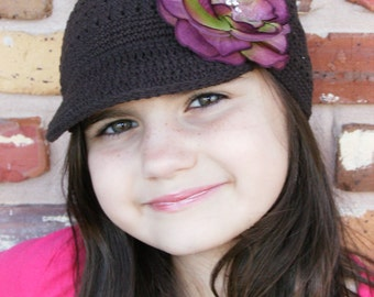 WINTER SALE---Boutique Crochet Brown Newsboy Cap with Rhinestone Flower Clip----Fits 2 years and Up----Ready to Ship----