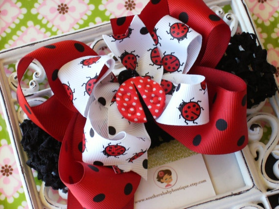 NEW ITEM----Boutique Baby Girl Crochet Headband Little Lady Bug Red and Black Dots
