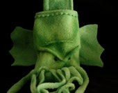 CTHULHU belt pouch for cel phone, iPhone, camera, tie-dye green plush wings and tentacles. fits iPhone Droid  and more custom made