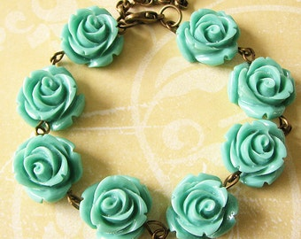 Flower Bracelet Turquoise Jewelry Beaded Bracelet Rose Bracelet Rose Jewelry Bridesmaid Jewelry Set