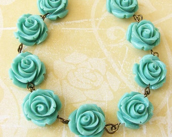 Flower Necklace Turquoise Jewelry Beaded Necklace Bridesmaid Jewelry Rose Necklace