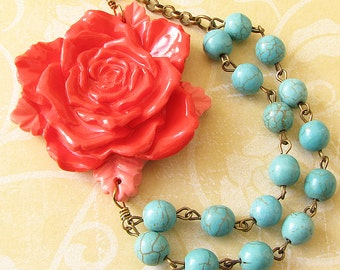 Statement Necklace Flower Necklace Coral Necklace Turquoise Jewelry Beaded Necklace Gift For Her