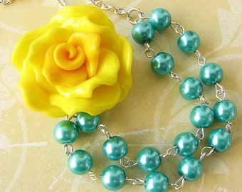 Statement Necklace Flower Necklace Teal Jewelry Bridesmaid Jewelry Beaded Necklace Yellow Necklace Gift For Her