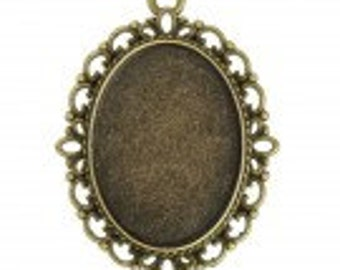 Pendants, Glue in Cabochon Settings,  Flat Oval, Antique Brass, 25x18mm , Pack Of 5.
