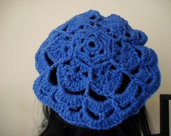 crochet mega flower beret tam