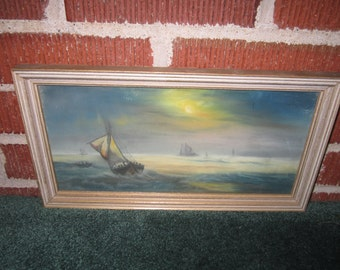 Antique Edwardian Lovely Framed Original Pastel Sailboat Painting