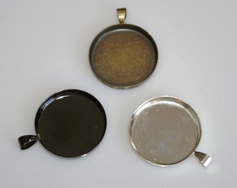 Reserved 25 - one inch round brass pendant tray for photo charm, resin or other cabochon pendants - Lead free