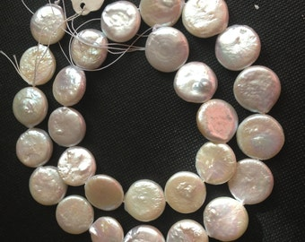 14-15 mm White Coin Fresh Water Pearl - full strand - AA Grade