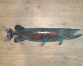 Musky / Pike Metal Handmade Wall Sculpture Lodge Cottage Lake Cabin Art Green