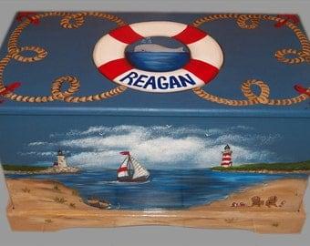 Nautical Sailboat Theme Toy Box Custom Designed