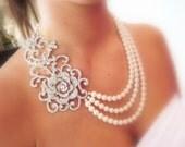 Bridal statement necklace, Wedding jewelry, Pearl necklace, Wedding necklace, Rhinestone necklace, Multi strand necklace, Vintage style