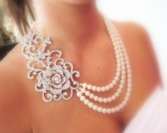 Bridal statement necklace, wedding jewelry, pearl necklace, wedding necklace, rhinestone necklace
