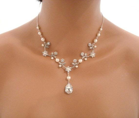 Floral bridal necklace Wedding necklace Bridal by treasures570