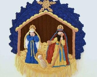 crochet nativity wall hanging, crochet wall art, home decor, Mary, Joseph, baby Jesus, teaching aid, housewarming gift, fiber art