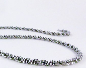 Thin Chainmaille Necklace - Stainless Steel - Kings Spiral