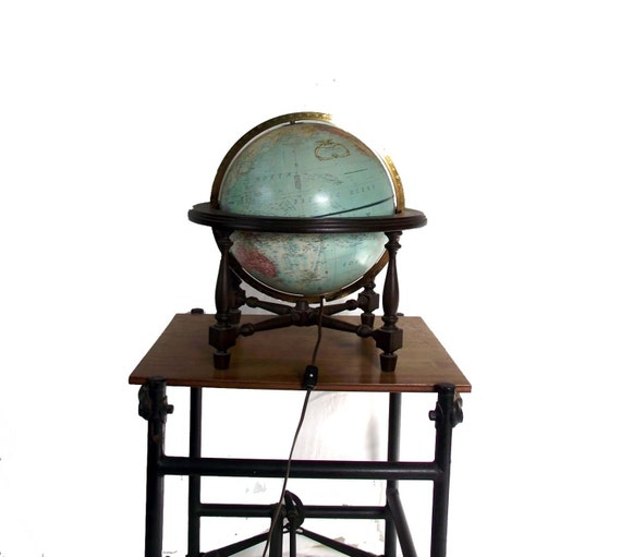 Stand Up Light: Replogle Light Up Globe. Vintage 90s Globe With Stand