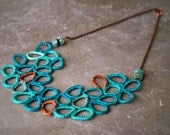 Shades of Aqua and Copper Leaves Crochet Bib Necklace with Peruvian Opal