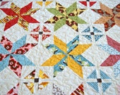 Quilt Throw Lap BOHO by Basicgrey Moda Modern Stars Colorful Scrappy Patchwork - PiecesOfPine