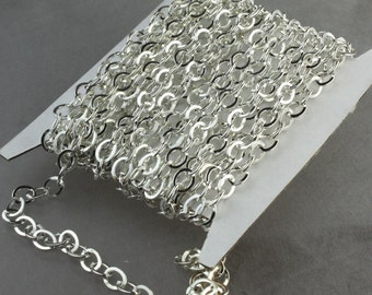 32 ft Silver Flat Chain Silver Plated Cable Chain BIG Fashion Chain - 7.8x6.0mm - Unsoldered Link - Bulk Chain Necklace Wholesale DIY Chain