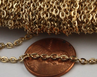 SALE Sale 12 ft spool of ROSE Gold Plated Flat Round cable chain - 3x2.2mm - unsoldered link