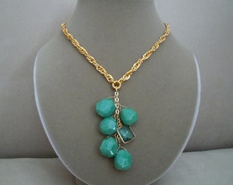 Sweet Pea -- One of a Kind -- Green Onyx and Quartz Statement necklace