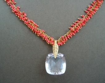 NEW Coral Ice -- One of a Kind -- Ice Crystal Quartz and Red Cluster Chain necklace