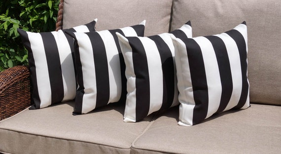 Spring Sale Deck Stripe Black and White by LandofPillowsDotCom