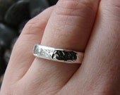 Sterling Silver Nautical Wedding Ring. Rustic Hammered Wedding Ring. Unisex Wedding Ring
