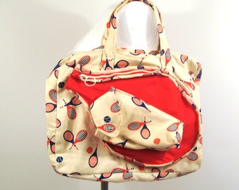 Tennis racket Bag Vintage 1970s Tote Blue Red White and blue