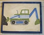 Boys bulldozer canvas painting 11 x 14 Construction Truck Children kid room decor Baby nursery wall art Original painted artwork Blue green