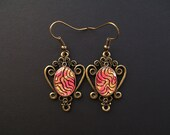 AMBROSIA AFFORDABLES 14 x 10 mm Earrings Red Black Gold