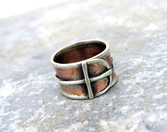 Copper, Sterling, Silver, Cross, Handmade Ring, Christian, Twist, Anniversary, Wedding, Birthday, Gift
