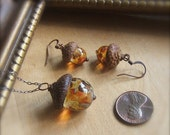 Glass Acorn Necklace and Earring Set in Autumn Tones by Bullseyebeads