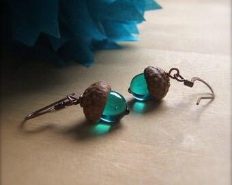 Glass Acorn Earrings in Transparent Teal by bullseyebeads