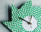 St. Patrick's Day Chevron Origami Clock - Green - Giftedpapers