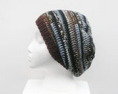 SALE, Unisex Slouch Hat  in black, grey, brown and light blue stripes, ready to ship.