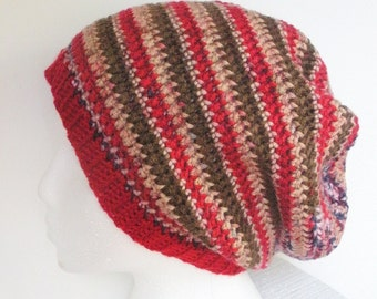 SALE, Crochet Slouch Hat  in red, pink, brown and green stripes, ready to ship.