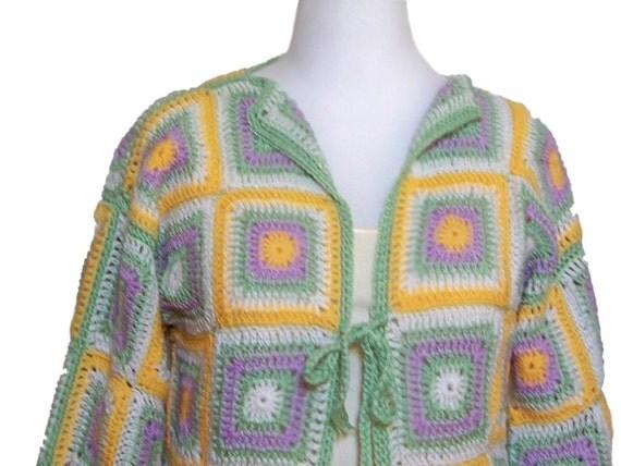 Women Crochet Sweater, Pastel Colors, Jacket Style