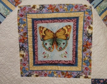 Queen King Size Bed Quilt Patchwork Handmade Butterflies Pinwheels Quiltsy