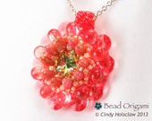 Tangerine Crystal Dahlia Flower Beaded Pendant