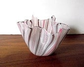 Vintage Venini Murano Handkerchief Art Glass Vase, Pink, Brown, White, Fazzoletto - MTippingAtelier