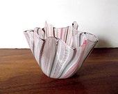 Midcentury VENINI Italian Murano Latticino Handkerchief Art Glass Vase, Pink, Brown, White, Fazzoletto, Zanfirico