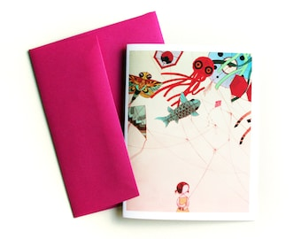 Japanese Kite Card - cute blank greeting card with envelope