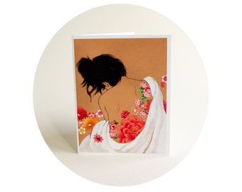 Rose - Tattooed Lady - Sweet Floral Art Card - Pink and Red Flowers