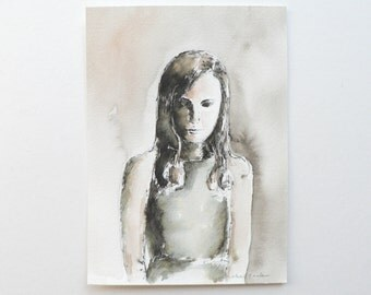 original ink and watercolor painting: young woman contemplating and reflecting